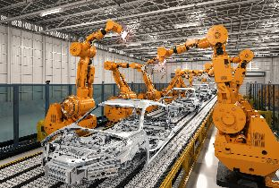 factory floor robotic arms