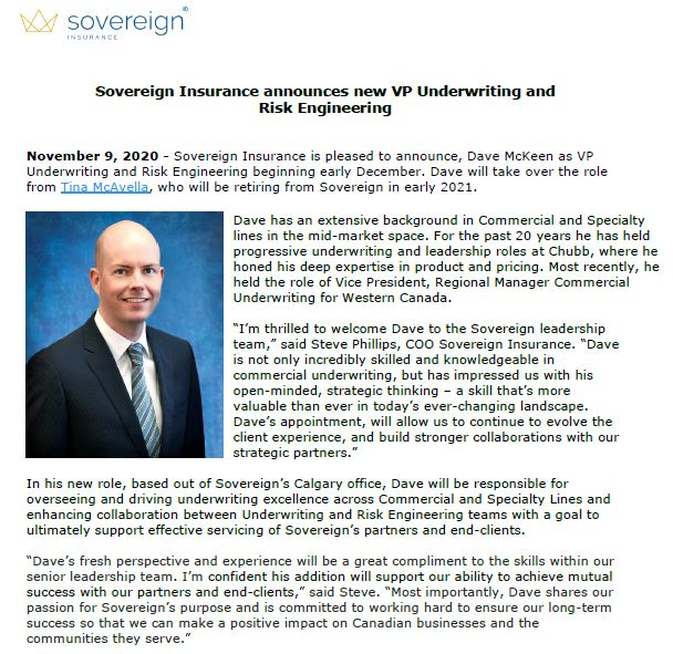 Sovereign Insurance announces new VP Underwriting and  Risk Engineering