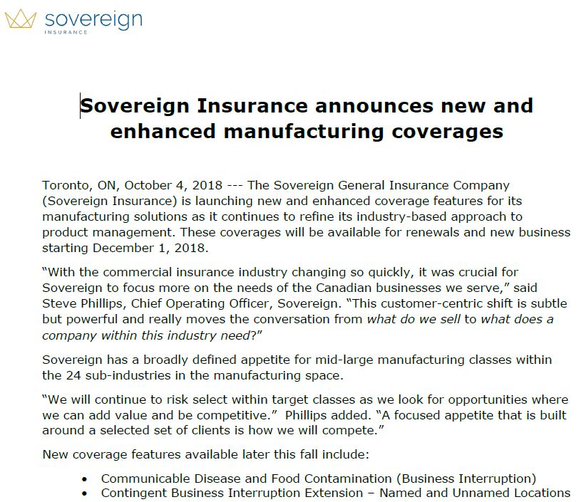 Sovereign Insurance Announces new and enhanced manufacturing coverages