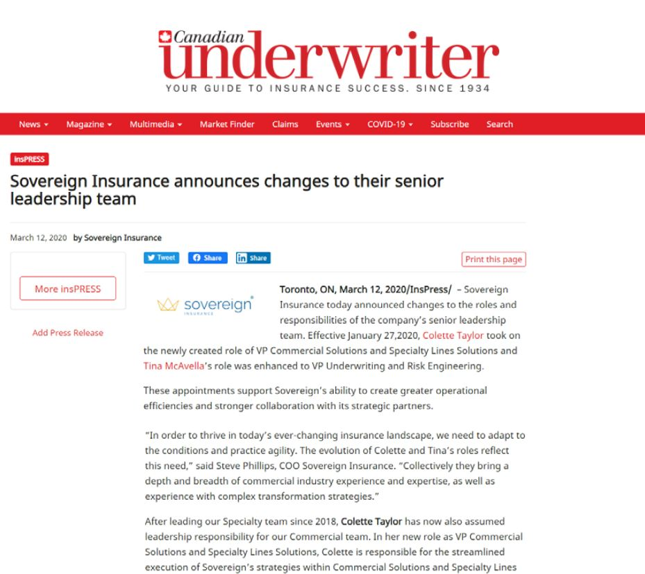 Screenshot of an article in Canadian Underwriter magazine regarding Sovereign Insurance's change in Senior Management