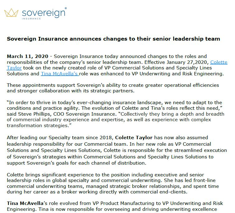 Preview of Press release regarding changes to senior leadership team