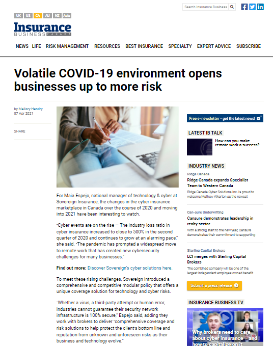 Volatile COVID-19 environment opens businesses up to more risk - featured in Insurance Business Canada