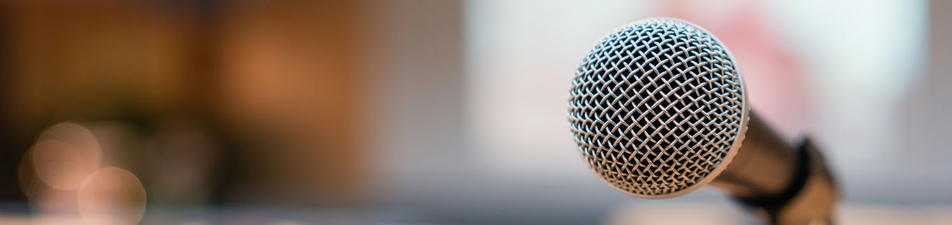 closeup of  a microphone on a microphone stand