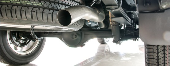 Exhaust pipe and under carriage of a car